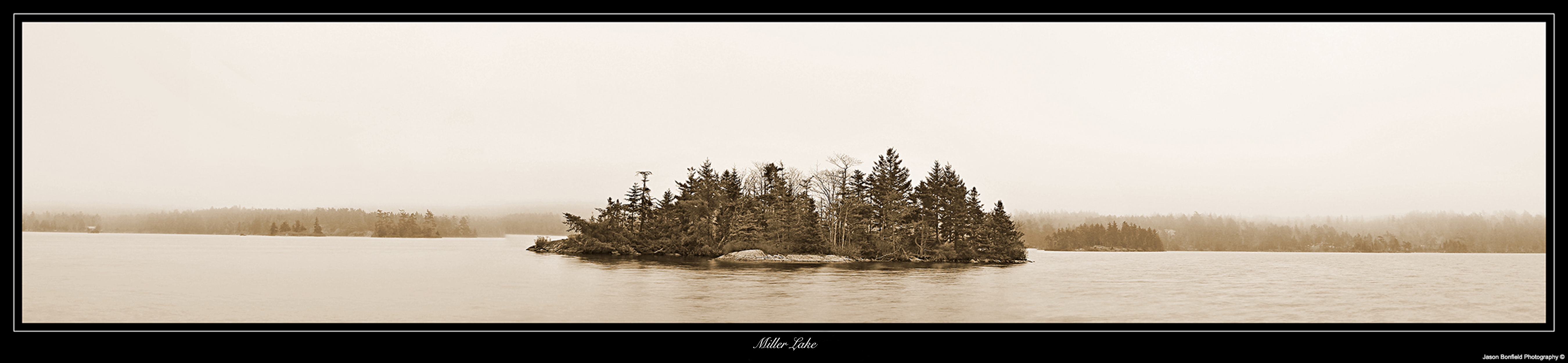 Sepia panoramic landscape picture of small island on Miller Lake in Halifax, Nova Scotia, Canada.
