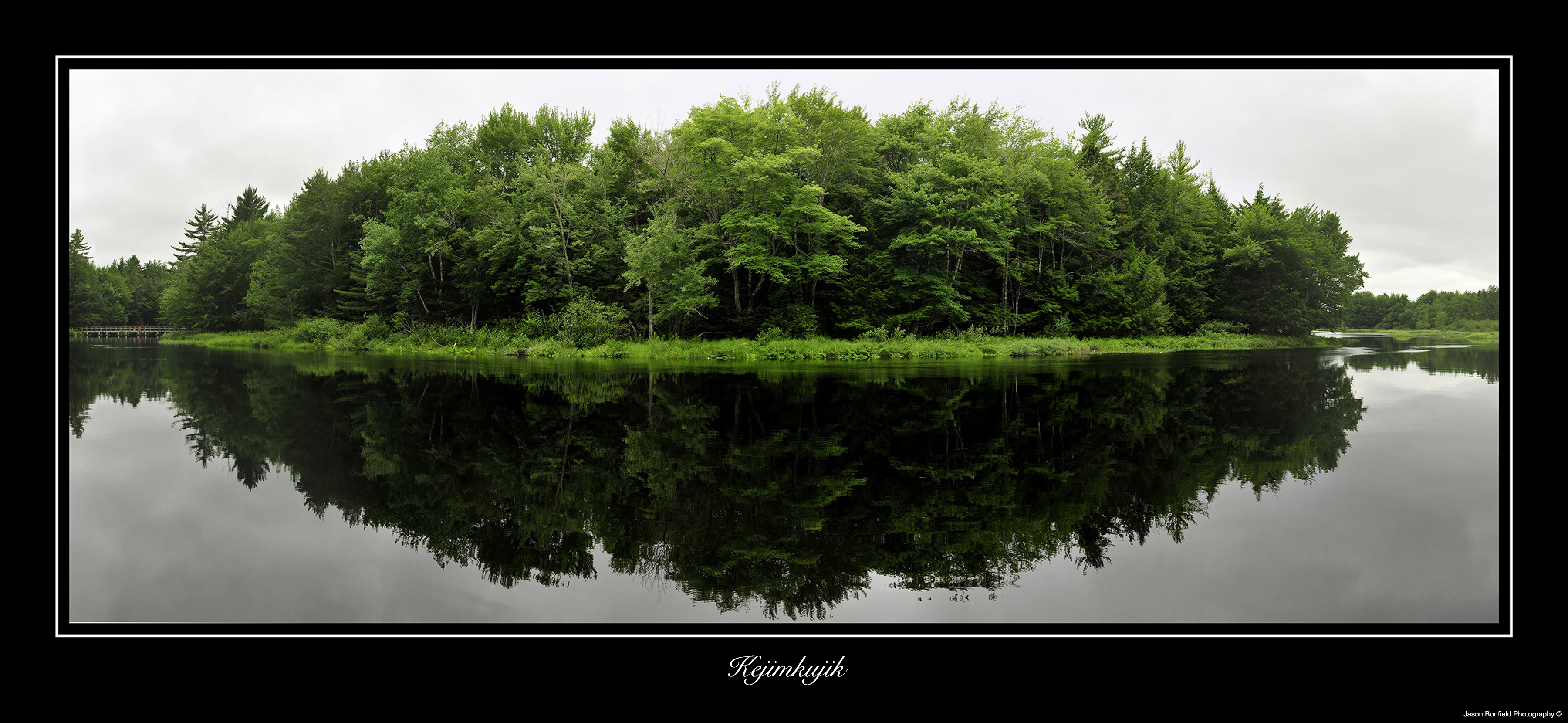 Picture of trees and their reflection in a lake at Kejimkujik National Park, Nova Scotia, Canada.