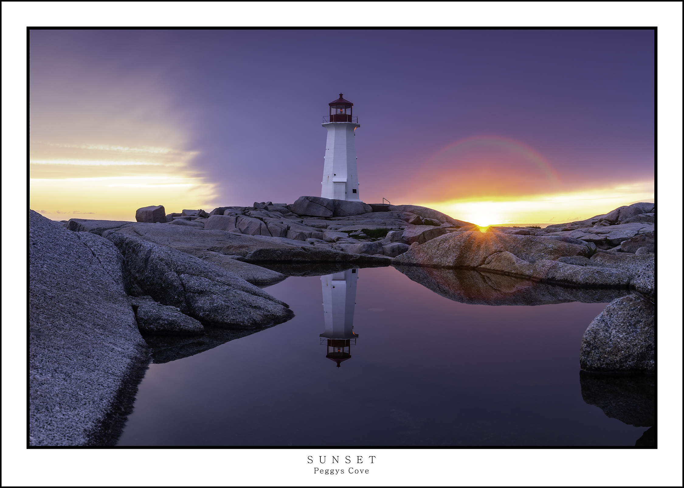 Peggys Cove lighthouse at sunset with a cloudy sky and the lighthouse reflected in a pool of water